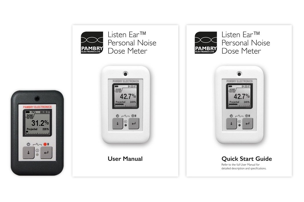 Listen Ear™ - Personal Noise Dose Meter and Manuals
