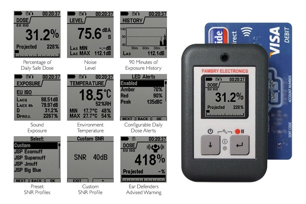 The Listen Ear™ - Personal Noise Dose Meter Screen Displays