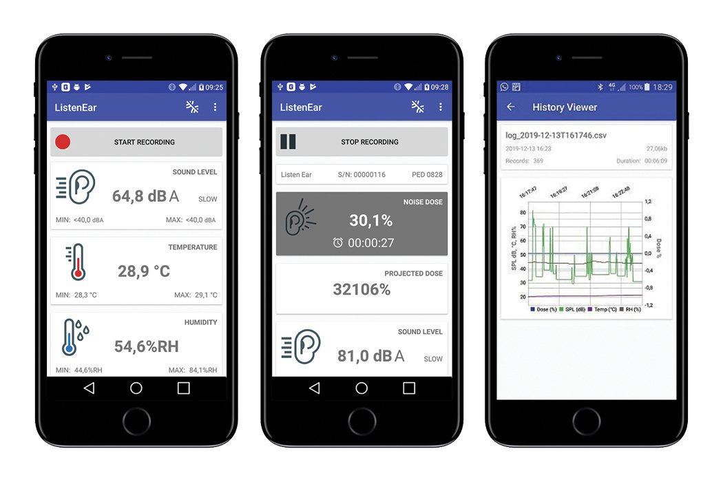 The Listen Ear™ - Personal Noise Dose Meter Mobile App Screens